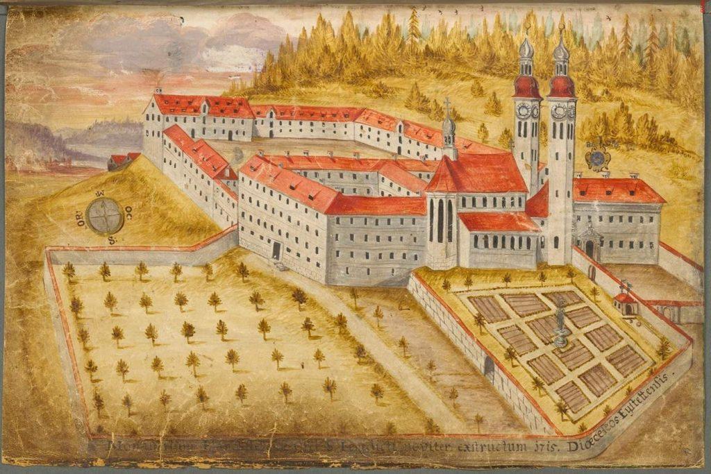 Die Ende des 17. Jahrhunderts entstandene barocke Klosteranlage in einer Ansicht um 1715.